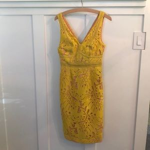 Anthropologie Maeve yellow lace cocktail dress